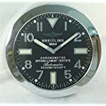 Breitling Watches Breitling Luminous Silent Sweep Wall Clock, Silver+Black