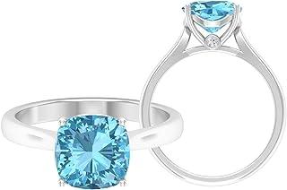 Anillo solitario de corte cojín de 8,5 mm, anillo de moissanita D-VSSI, anillo de compromiso de oro blanco de 14 quilates