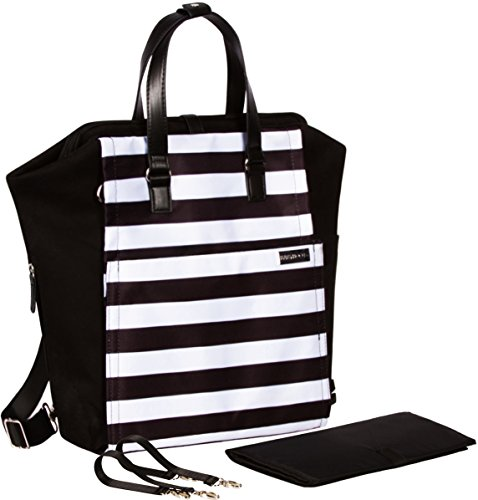 Diaper Bag Backpack Convertible Baby Bag by Babyboo 16 - with Changing Pad and Stroller Strap - Super Versatile and Classy - Black and White - Cute Designer Diapers Bags Cotton (Black White)