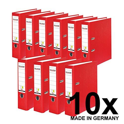 Original Falken 10er Pack PP-Color Kunststoff-Ordner. Made in Germany. 8 cm breit DIN A4 rot Vegan Ringordner Aktenordner Briefordner Büroordner Plastikordner Schlitzordner