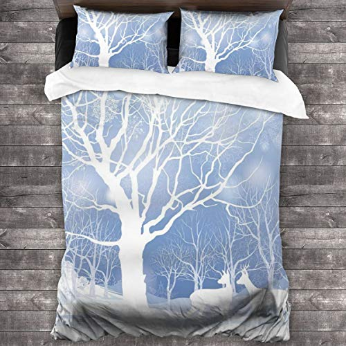 MAYUES Duvet cover bedding Set,Abstract Winter Imagery With Snowy Weather Deer And Other Animals Seasonal Theme,3 Piece Set bedding with 2 pillowcases,King(220 * 230cm)