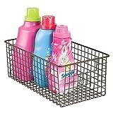 mDesign Contenitore pulizia casa - Cestino multiuso in metallo e organizer detersivi - Per confezioni e flaconi detersivo bagno, ammorbidente, lavapiatti - Colore: bronzo