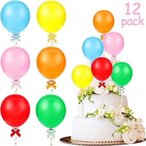 12 Packungen Mini Ballon Kuchen Topper Set DIY Ballon Kuchen Dekoration Latex Ballon Stick Topper für Geburtstag Baby Duschen Jahrestag Party