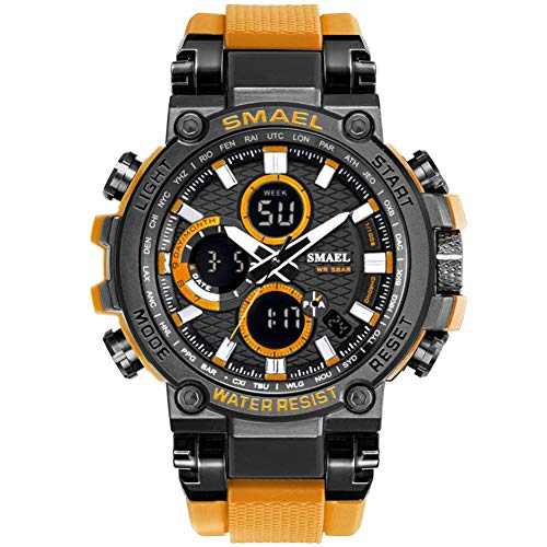 SMAELBand Digital Army Watch Men LED Sportuhren wasserdichte Uhr Militärarmbanduhr für Herren,ORANGE
