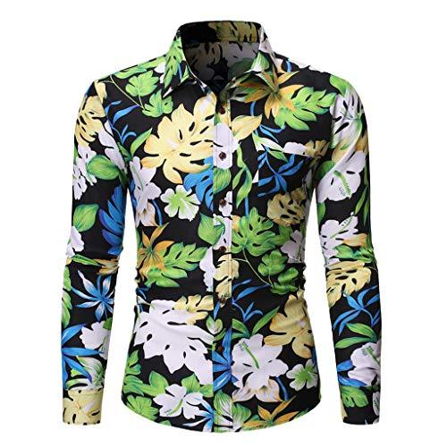 Yowablo Tee Shirts Homme Printemps Été Casual Slim Imprimé Chemises À Manches Longues Top Beach Blouse (L,2 Vert)