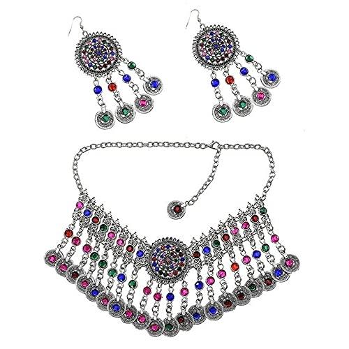 xiangwang Gargantilla de la India turca con diseño de moneda, collar y pendientes de diamantes de imitación, juego de joyería gitana bohemia (color metálico: oro amarillo claro)