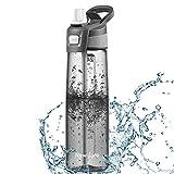 Newdora Gourde Sport 750ml, Bouteille d'eau Reutilisable, Bouteille de Sport, sans BPA Eco Friendly, pour Enfant & Adulte, Gris