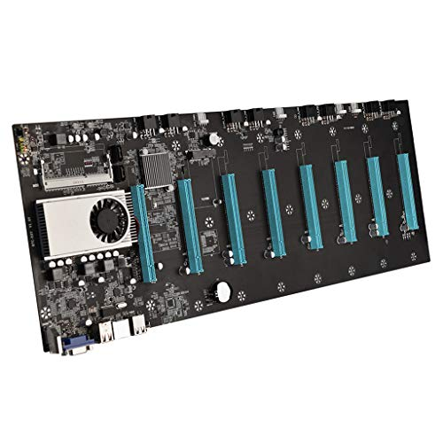 Yuxiale BTC-37 Mining Motherboard, Mining Machine Motherboard CPU Support 8 GPU Card DDR3 Memory Integrated, VGA Interface Low Power Consume for Mining Machine