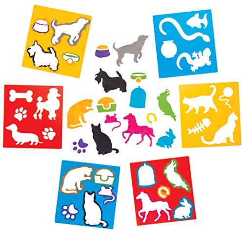 """Baker Ross Schablonen """"Haustiere"""" zum Malen (6 Stück) – Schablonenset aus abwaschbarem Kunststoff für Kinder"""