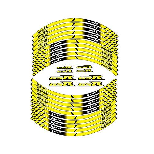 Tiras de neumático de la Motocicleta Etiqueta engomada Impermeable de Cobertura Total Ruedas Moto Suzuki GSR Pegatinas para Mei Racing (Color : Orange)