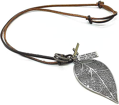 Yiffshunl Necklace Necklace Handmade Punk Brown Genuine Leather Vintage Cross Cool Skull Pendant Men Necklace Women Sweater Chain Jewelry for Women Men Gift