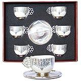 Alisveristime 12 Pc Turkish Greek Arabic Coffee Espresso Cup Saucer Porcelain Set (Silver Color)