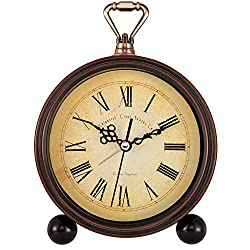 Foxtop Retro Analog Alarm Clock Silent Non Ticking Battery Operated Clock Vintage Style for Living Room Home Bedroom Bedside Desk (5 inch, Roman Numerals)