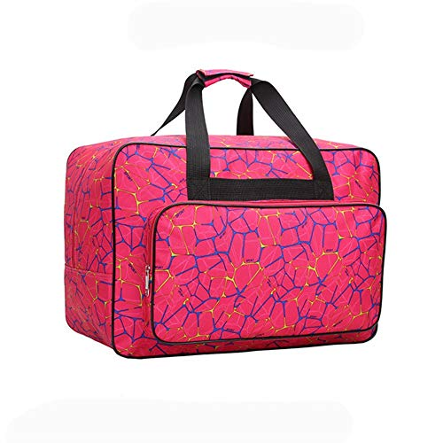 Sewing Machine Tote Bag, Foldable Sewing Machine Carry Case, Padded Storage Cover Carrying Case with Pockets and Handles (Rose Red)