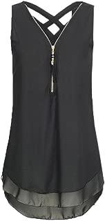 WOCACHI Womens Chiffon Tank Tops Cross Back Hem Layer Zipper Blouse Loose Sleeveless Tunic Vest