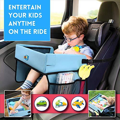 Kitlit Reisetisch Kinder,Spiel Knietablett Kindersitz mit PVC Film+7 Farbstifte,Multifunktional Einstellbar Reisetablett Esstisch Autositz Spieltisch für Auto,Kinderwagen,Flugzeug,Bahn,Blau