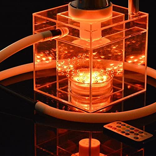 N\C Juego de Hookah de acrílico con luz LED, Cuenco y Manguera de Silicona, Juego de Soporte de carbón portátil de Grado Superior Cuadrado Duradero + Accesorios Verde LKWK