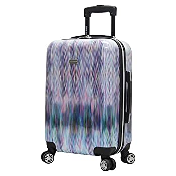 Steve Madden 20 Inch Carry On Luggage Collection - Scratch Resistant  ABS + PC  Hardside Suitcase - Designer Lightweight Bag with 8-Rolling Spinner Wheels  Diamond