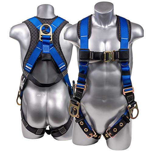 Palmer Safety Full Body 5pt Safety Harness, Padded Back Support, Quick-Connect Buckle, Grommet Legs, Back&Side D-Rings I OSHA ANSI Fall Protection Compliant (Blue - Universal)