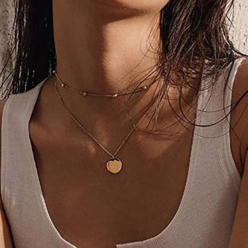 Edary Boho dubbele gouden halsketting pailletten hanger kettingen kralen ketting sieraden accessoires voor vrouwen en meisjes