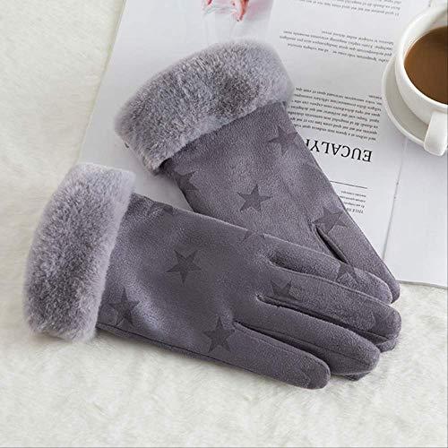 AMZIJ GlovesWomen Touchscreen Wildlederhandschuh Winter Künstliches Kaninchenhaar Handgelenk Mund Handschuhe Verdickung Warme Wolle Fleece Handschuhe One Size N912-Star Grey
