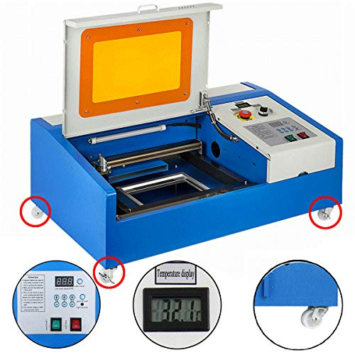 VEVOR Laser Engraver K40 CO2 Laser Cutter 12'x8' Laser Engraving Machine 40W with Air Exhaust Fan USB Port(40W 12'x8' 300x200mm)