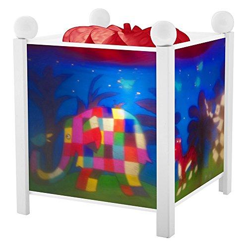 Trousselier - Elmer der Elefant - Nachtlicht - Magische Laterne - Ideales Geburtsgeschenk - Farbe Holz weiß - animierte Bilder - beruhigendes Licht - 12V 10W Glühbirne inklusive - EU Stecker