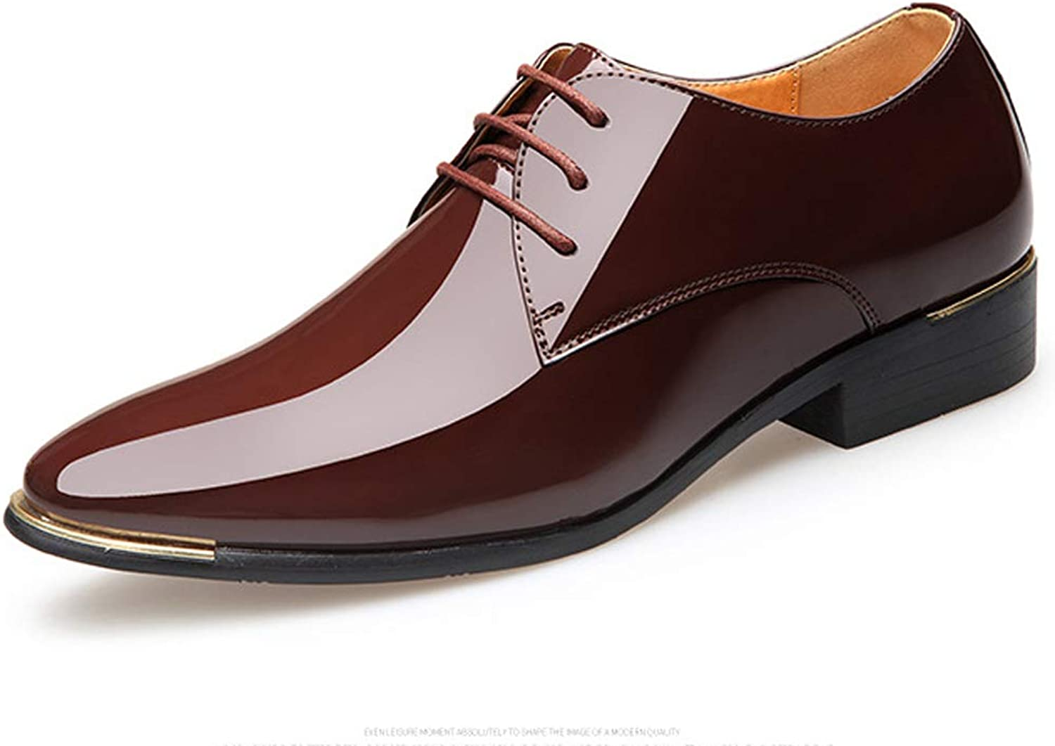 TAZAN Spring and autumn new men's pointed patent leather business dress shoes England large size tie casual shoes low dress party wedding shoes breathable wear
