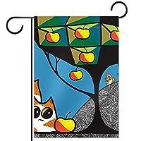 ウェルカムガーデンフラッグ(12x18inch)両面垂直ヤード屋外装飾,幾何学猫