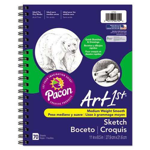 Pacon Products - Pacon - Art 1st Sketch Diary, 11 x 8 1/2, 60 lb, 70 Sheets, White - Sold As 1 Each - Ideal for quick-study sketches and drawings. - Excellent, heavyweight, acid-free stock. - Compatible with all dry media.