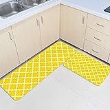 DoremiHome Kitchen Mats for Floor 2 Piece Kitchen Rug Set Morocco Anti Fatigue Mats Yellow White Gometric Classic Design Kitchen Runner Rugs Non Skid Washable 15.7'x23.6'+15.7'x47.2'
