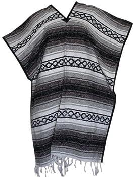 Del Mex Classic Mexican Blanket Poncho Gray