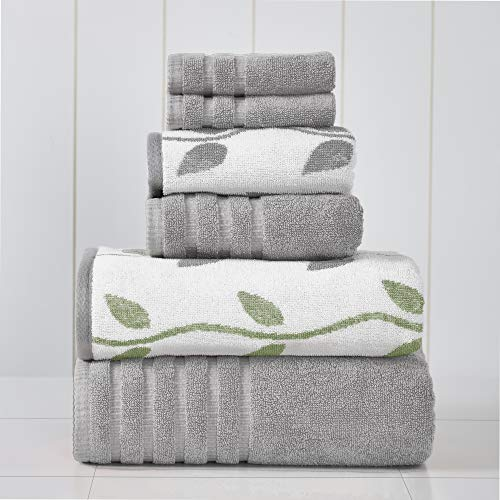 Amrapur Overseas 6-Piece Yarn Dyed Organic Vines Jacquard/Solid Ultra Soft 500GSM 100% Combed Cotton Towel Set [Grey Lavender]