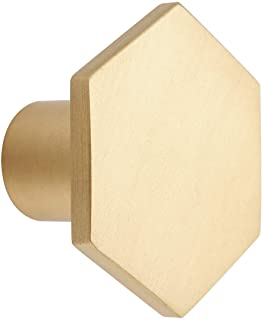 10 Pack Gold Cabinet Knobs, Pure Solid Brass Knobs, Hexagon Drawer Pulls, Brushed Dresser Handles for Kitchen Bathroom Bed...