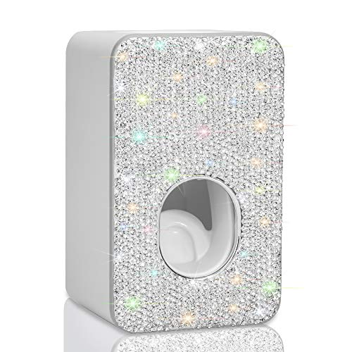 Ohok Automatischer Zahnpasta Spender Wandhalterung, Automatische Zahnpastaspender mit Bling Strass für Familie Kinder Badezimmer Waschraum (Silber)