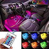 GOADROM Car LED Strip Light, 4pcs 36 LED DC 12V Multicolor Car Interior Lights LED Under Dash Lighting Waterproof Kit with Wireless Remote Control, Multi-Mode Change(DC 12V)…