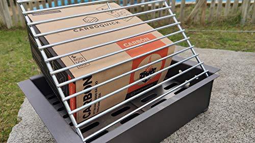 Barbacoa Metálica de sobremesa y Suelo Chimenea con Parrilla Inox + CARBOQUICK | Asador Cajón Portátil y Ligero de Carbón/Leña | Ideal para Paellero y asar tus carnes, pescados y verduras 39x31x11 cm