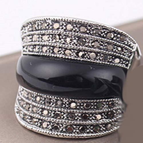 liuliu Joyas Verde/Negro/Rojo Piedra Anillos Vintage geométricos para Mujeres con Diamantes de imitación Negros