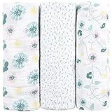 Muselinas para bebés de emma & noah, paquete de 3, 100% algodón, 80x80 cm, paños de muselina suaves para bebé,ideal como pañales de tela, paños de muletón, mantas de lactancia, doudou