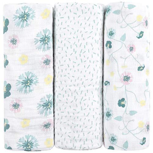 Muselinas para bebés de emma & noah con OEKO-TEX, paquete de 3, 100% algodón, 80x80 cm, paños de muselina suaves para bebé,ideal como pañales de tela, paños de muletón, mantas de lactancia, doudou