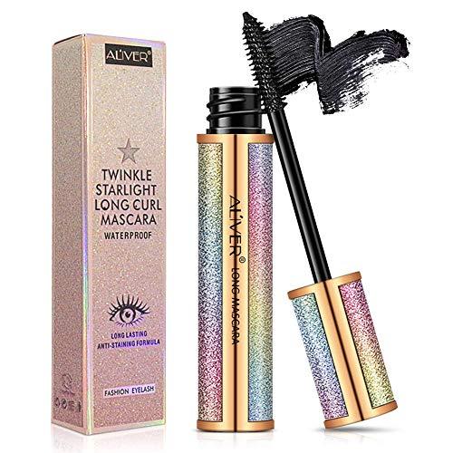 Mascara ImperméAble Noir, Mascara Cils En Fibre De Soie 4d, Luxueusement Plus Long, Plus éPais, Cils Volumineux, Longue DuréE