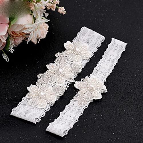 TH40 41 sexig spetsblomma lårring kristall pärlor bröllop strumpeband brud mode strumpa ring-one set