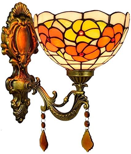 Lámpara de pared de estilo tiffany, pastoral E27 lámpara de pared barroca pintura de vidrio Lampshade Lighting
