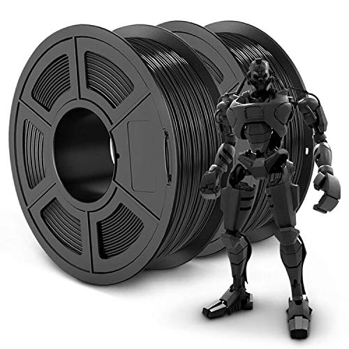 PLA+ 3D Printer Filament 1.75mm, SUNLU PLA Filament PRO, 1.75 PLA Plus Filament, Dimensional Accuracy +/- 0.02 mm, 1 kg Spool, Pack of 2, Black+Black