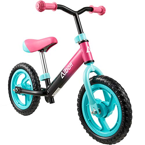 Albott Balance Bike 12  Toddler Training Bike for 18 Months, 2, 3, 4, 5 Year Old Kids Lightweight Contrast Color No Pedal Bicycle with Adjustable Seat and Airless Tire (Pink)