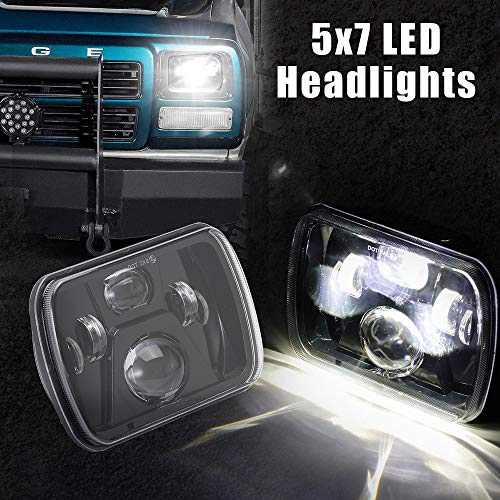 5x7 7x6 inch H6054 LED Headlights High Low Beam with New CREE Chip White Black Bezel Projector LED Clear Lens Headlights Replacement for for Jeep Wrangler YJ Cherokee XJ H5054 H6054LL 6052 6053,3-Year