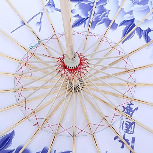 Kadimendium Paraguas de Baile de Papel Hecho a Mano para decoración de Banquete de Boda(Blue Chinoiserie)