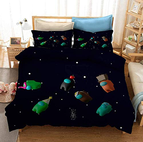 Yumhi Reversible Printing Among Us Spaceship Cosplay Imposter Duvet Cover Sets, 3PCS Bedding Set...