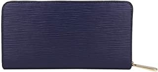 Men's Wallet Leather Long Zipper Water Ripple Mobile Phone Purse Fashion Trend Suitable for Casual Shopping (Color : Blue, Size : S)