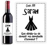 Étiquette personnalisable pour bouteille vin ou de champagne - Demande originale future demoiselle d'honneur ou témoin de mariage